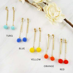 Pom Dangle Earrings