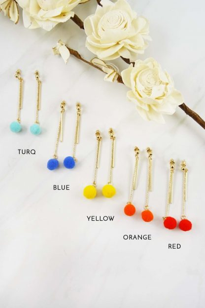 Pom Dangle Earrings