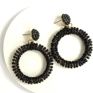 Bead Me Black Earrings